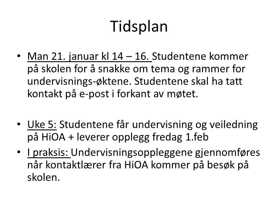 Tidsplan Man 21.januar kl 14 – 16.