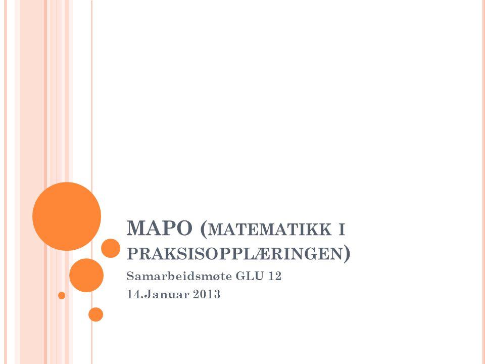 MAPO ( MATEMATIKK I PRAKSISOPPLÆRINGEN ) Samarbeidsmøte GLU 12 14.Januar 2013