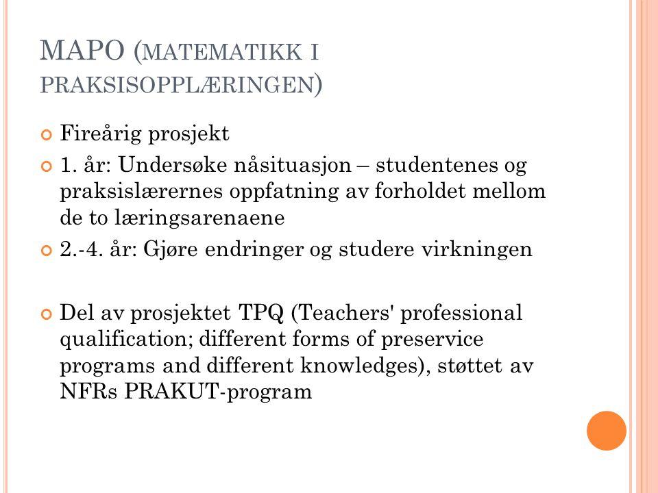 MAPO ( MATEMATIKK I PRAKSISOPPLÆRINGEN ) Fireårig prosjekt 1. år: Undersøke nåsituasjon – studentenes og praksislærernes oppfatning av forholdet mello