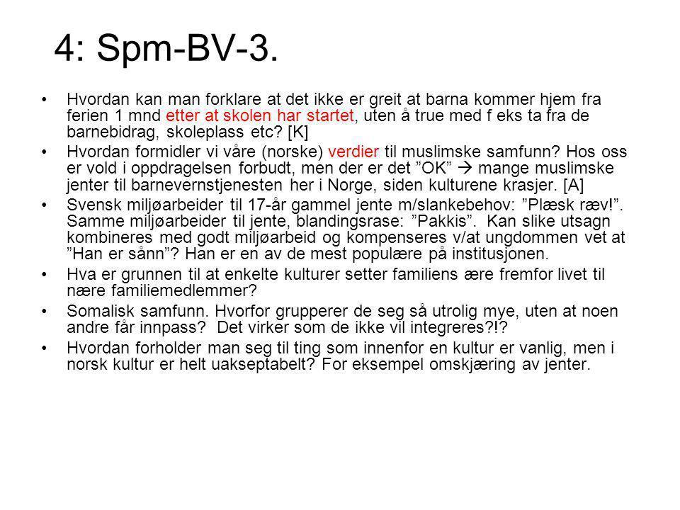 4: Spm-BV-3. Hvordan kan man forklare at det ikke er greit at barna kommer hjem fra ferien 1 mnd etter at skolen har startet, uten å true med f eks ta