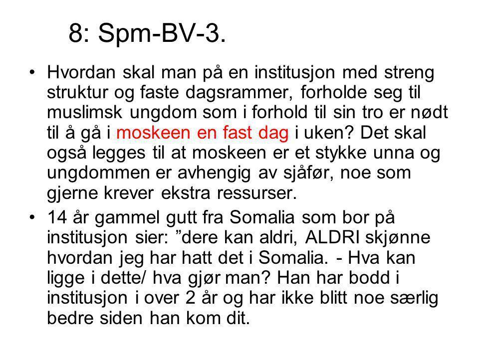 8: Spm-BV-3. Hvordan skal man på en institusjon med streng struktur og faste dagsrammer, forholde seg til muslimsk ungdom som i forhold til sin tro er