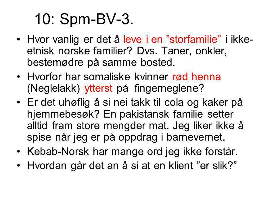 """10: Spm-BV-3. Hvor vanlig er det å leve i en """"storfamilie"""" i ikke- etnisk norske familier? Dvs. Taner, onkler, bestemødre på samme bosted. Hvorfor har"""
