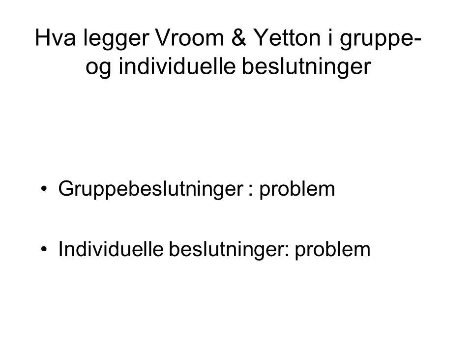 Hva legger Vroom & Yetton i gruppe- og individuelle beslutninger Gruppebeslutninger : problem Individuelle beslutninger: problem