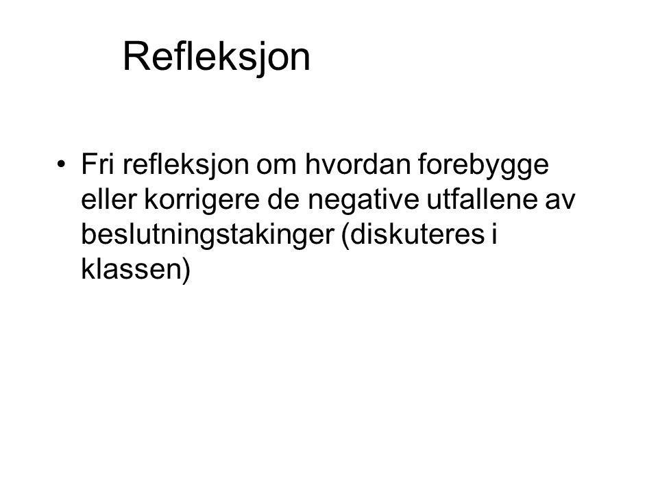 Refleksjon Fri refleksjon om hvordan forebygge eller korrigere de negative utfallene av beslutningstakinger (diskuteres i klassen)