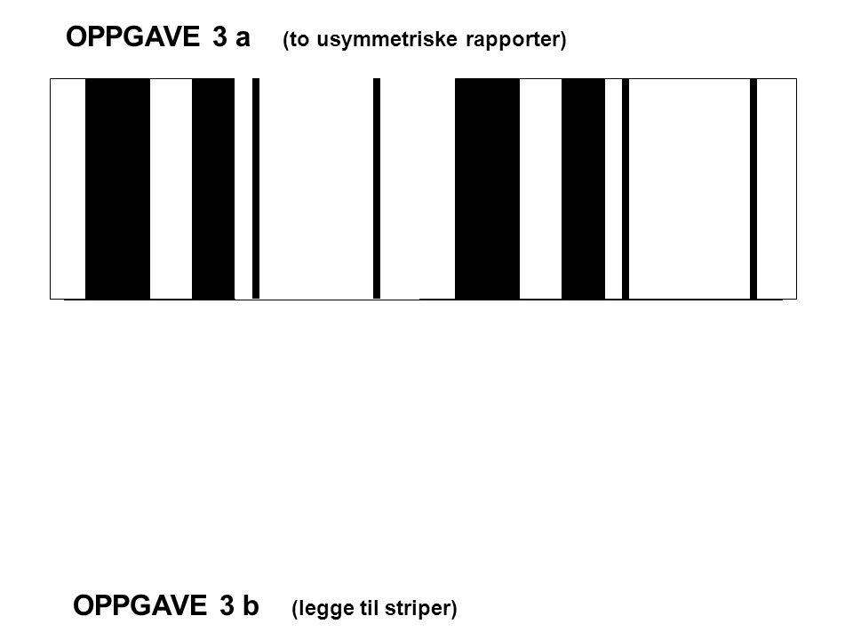 OPPGAVE 3 a (to usymmetriske rapporter) OPPGAVE 3 b (legge til striper)
