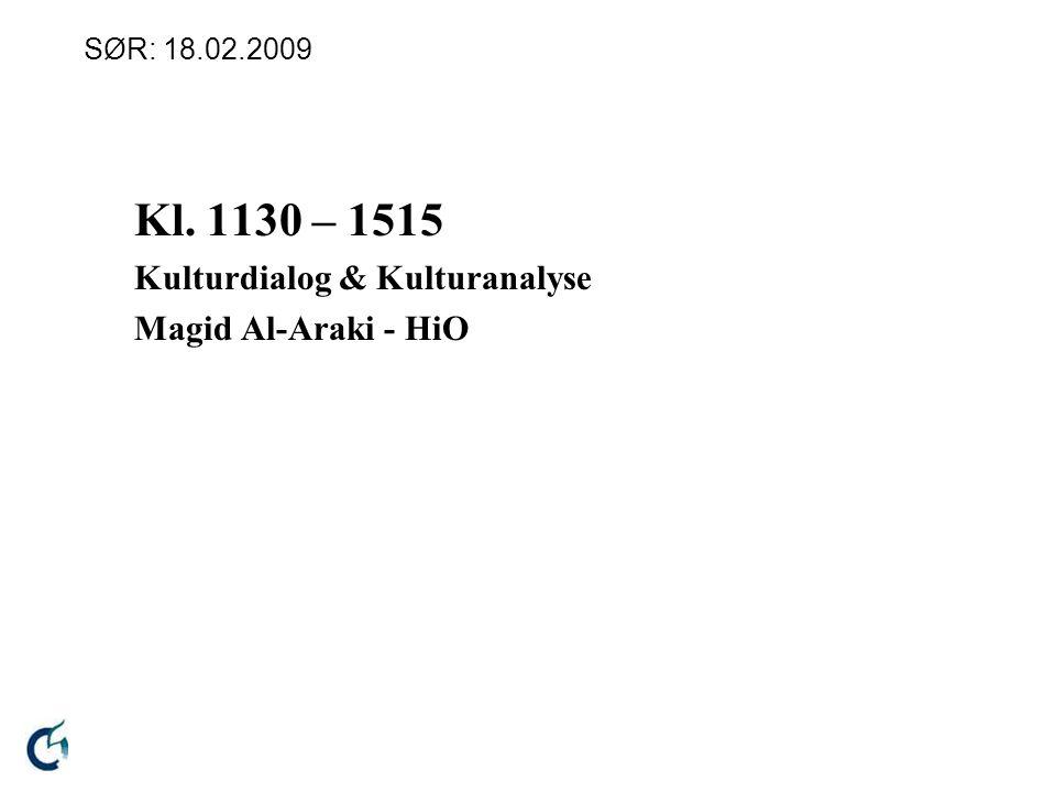 SØR: 18.02.2009 Kl. 1130 – 1515 Kulturdialog & Kulturanalyse Magid Al-Araki - HiO