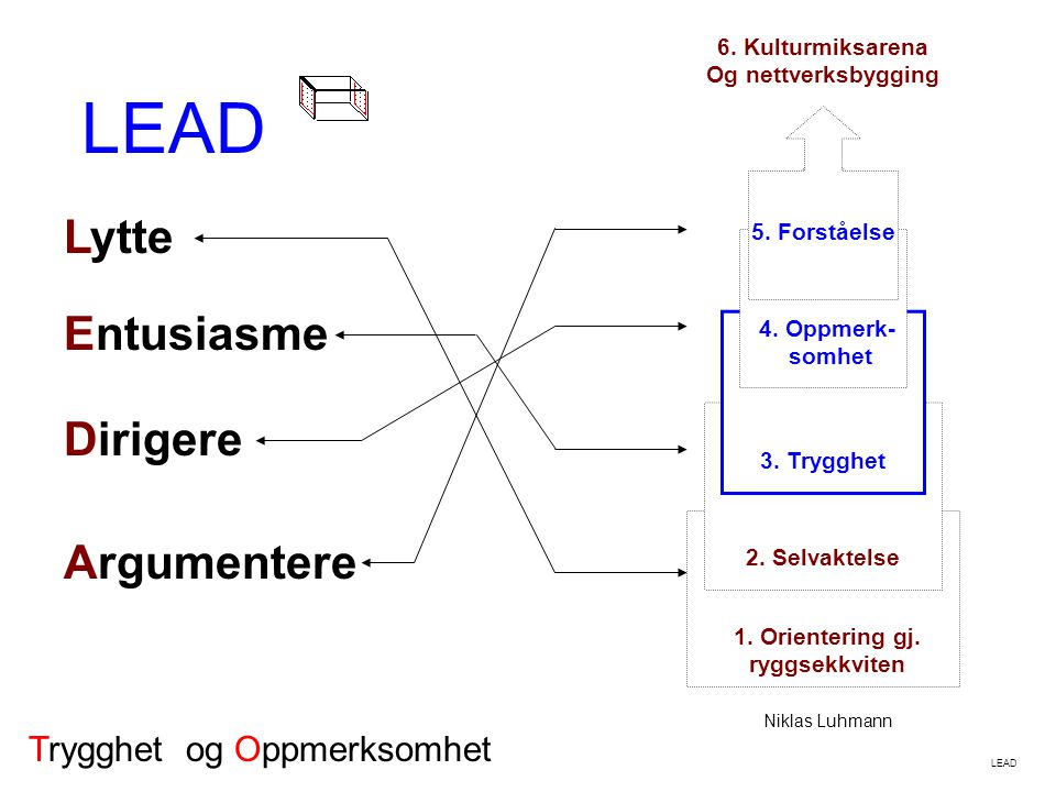 LEAD 1. Orientering gj. ryggsekkviten 2. Selvaktelse 3. Trygghet 4. Oppmerk- somhet 5. Forståelse 6. Kulturmiksarena Og nettverksbygging Niklas Luhman