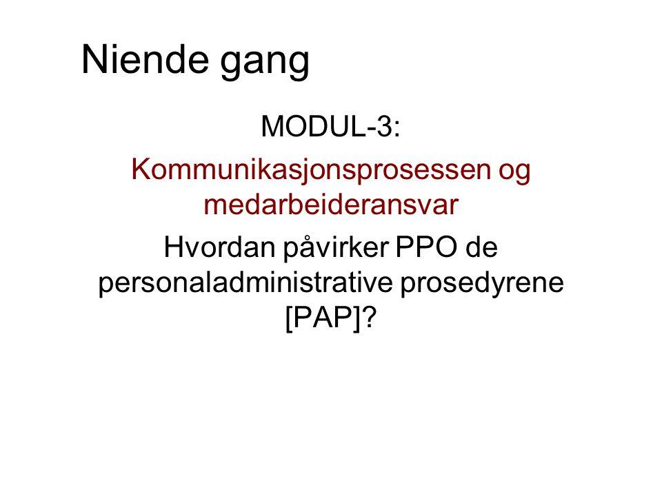Niende gang MODUL-3: Kommunikasjonsprosessen og medarbeideransvar Hvordan påvirker PPO de personaladministrative prosedyrene [PAP]?