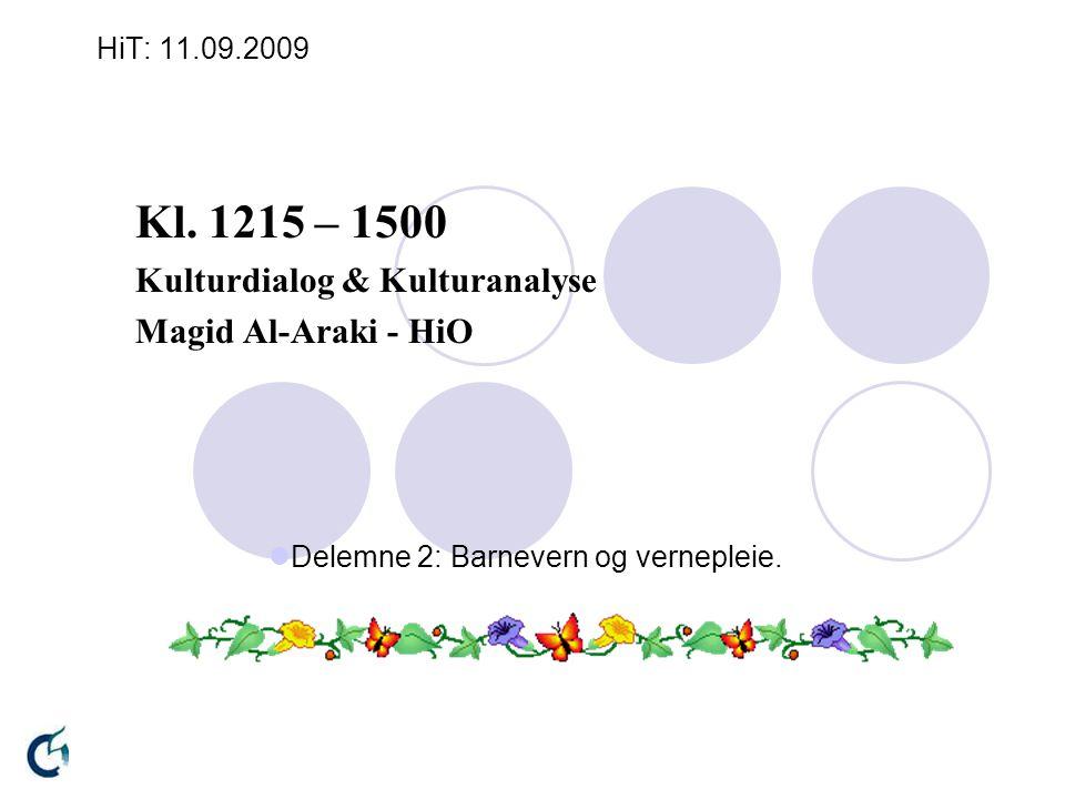 HiT: 11.09.2009 Kl. 1215 – 1500 Kulturdialog & Kulturanalyse Magid Al-Araki - HiO Delemne 2: Barnevern og vernepleie.