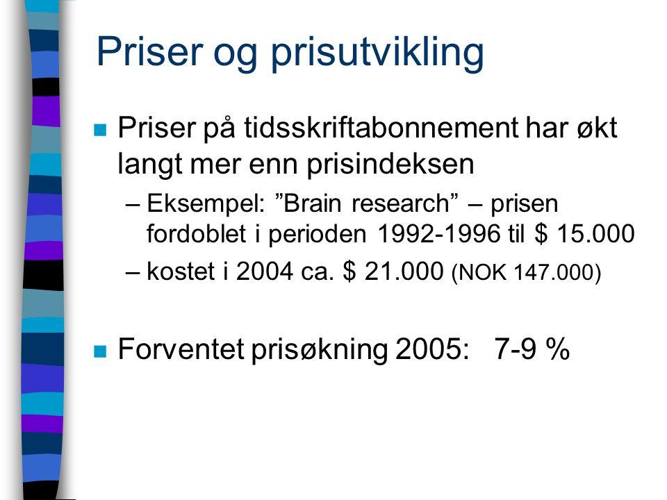 Priser og prisutvikling n Priser på tidsskriftabonnement har økt langt mer enn prisindeksen –Eksempel: Brain research – prisen fordoblet i perioden 1992-1996 til $ 15.000 –kostet i 2004 ca.