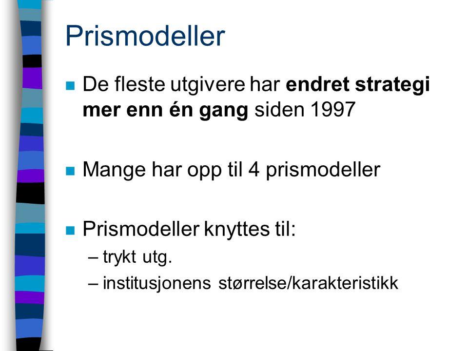 Prismodeller n De fleste utgivere har endret strategi mer enn én gang siden 1997 n Mange har opp til 4 prismodeller n Prismodeller knyttes til: –trykt utg.