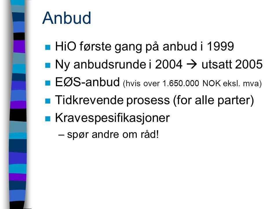 Anbud n HiO første gang på anbud i 1999 n Ny anbudsrunde i 2004  utsatt 2005 n EØS-anbud (hvis over 1.650.000 NOK eksl.
