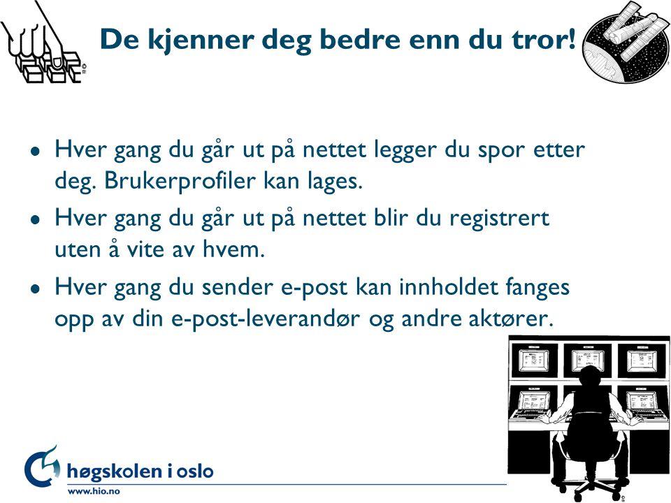 """(Hverdags) eksempler: -Sentralt samtaleregister i Telenor. -Kjøperabatt-kort, """"elektroniske spor"""