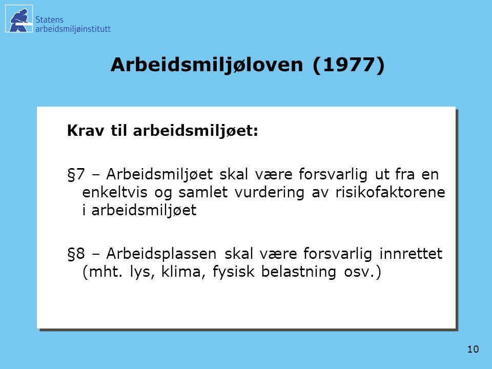 10 Arbeidsmiljøloven (1977) Krav til arbeidsmiljøet: §7 – Arbeidsmiljøet skal være forsvarlig ut fra en enkeltvis og samlet vurdering av risikofaktore