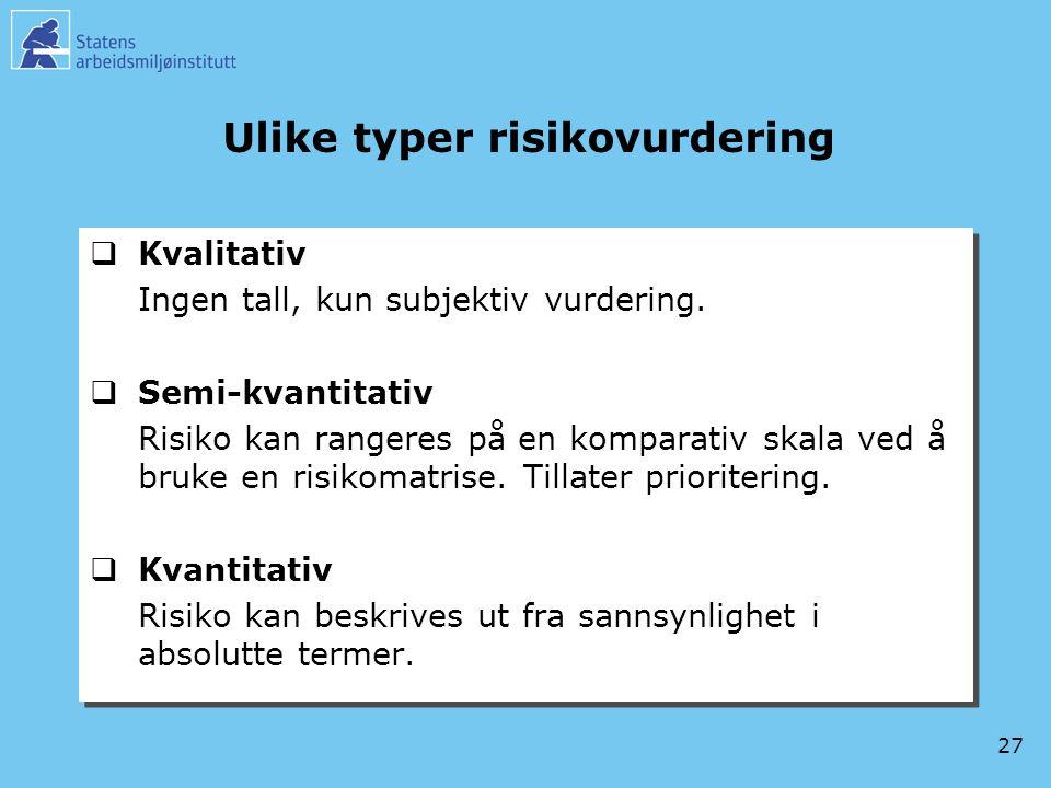 27 Ulike typer risikovurdering  Kvalitativ Ingen tall, kun subjektiv vurdering.  Semi-kvantitativ Risiko kan rangeres på en komparativ skala ved å b