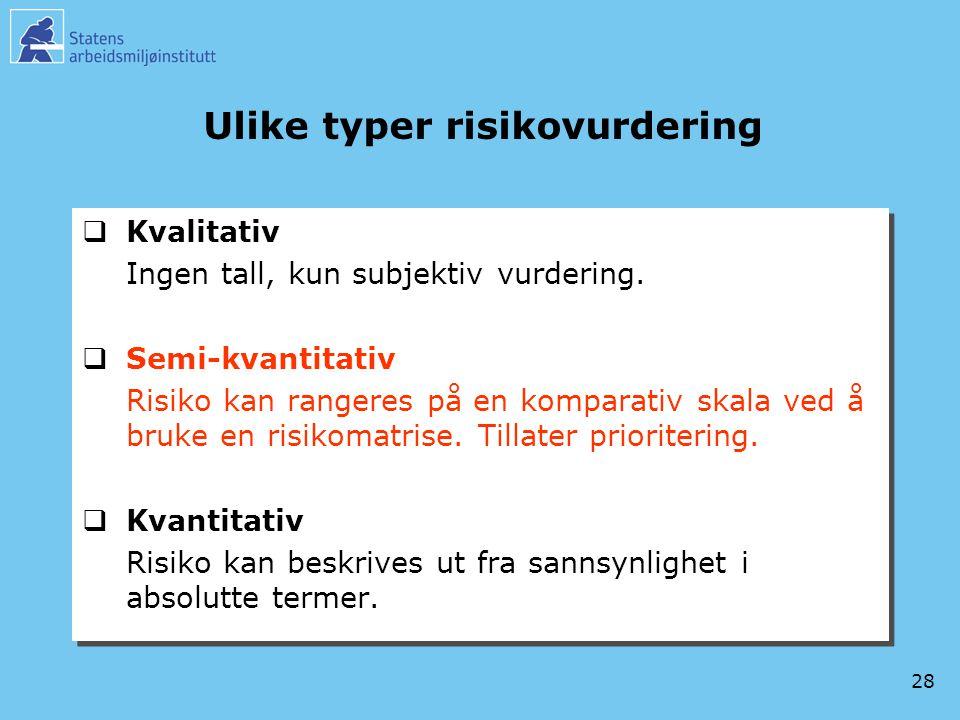 28 Ulike typer risikovurdering  Kvalitativ Ingen tall, kun subjektiv vurdering.