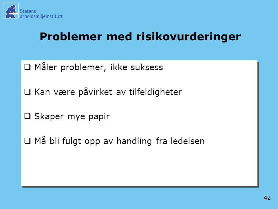 42 Problemer med risikovurderinger  Måler problemer, ikke suksess  Kan være påvirket av tilfeldigheter  Skaper mye papir  Må bli fulgt opp av hand