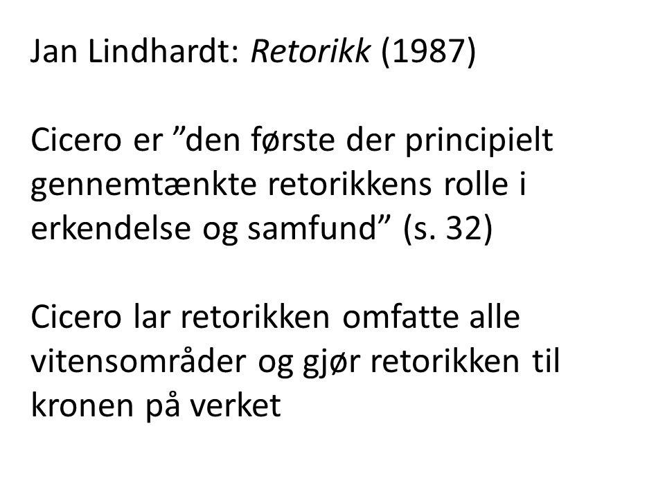 Jan Lindhardt: Retorikk (1987) Cicero er den første der principielt gennemtænkte retorikkens rolle i erkendelse og samfund (s.