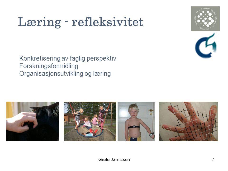 Grete Jamissen7 Læring - refleksivitet Konkretisering av faglig perspektiv Forskningsformidling Organisasjonsutvikling og læring