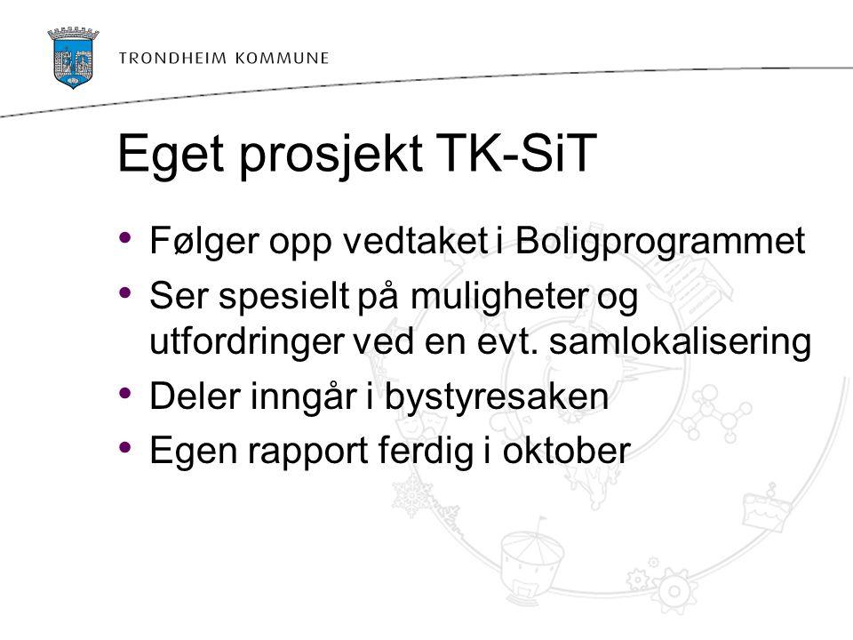 Eget prosjekt TK-SiT Følger opp vedtaket i Boligprogrammet Ser spesielt på muligheter og utfordringer ved en evt. samlokalisering Deler inngår i bysty