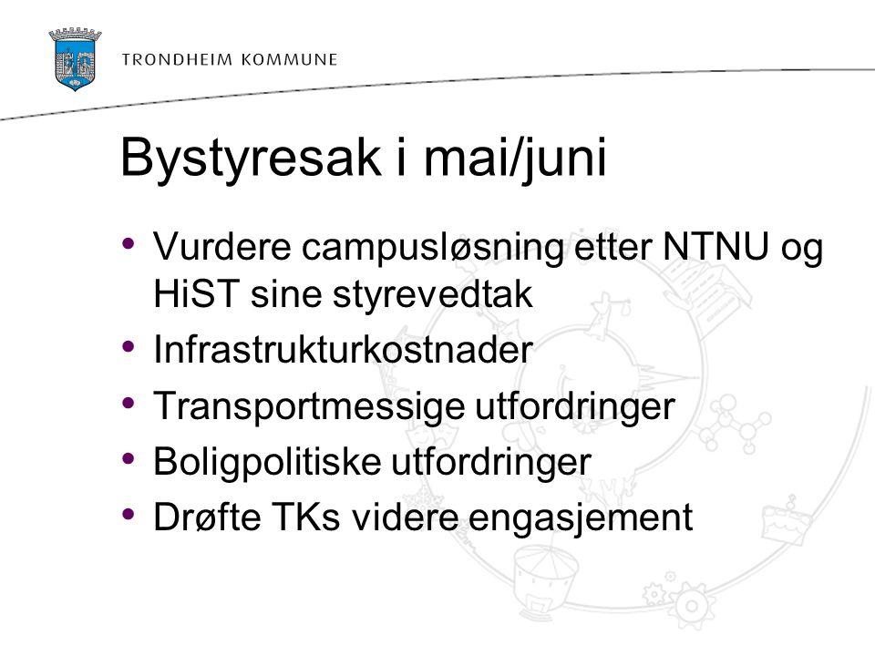 Bystyresak i mai/juni Vurdere campusløsning etter NTNU og HiST sine styrevedtak Infrastrukturkostnader Transportmessige utfordringer Boligpolitiske ut