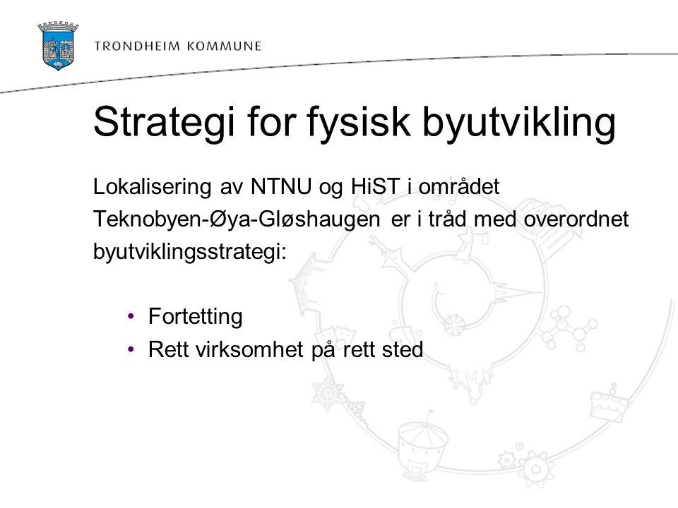 Strategi for fysisk byutvikling Lokalisering av NTNU og HiST i området Teknobyen-Øya-Gløshaugen er i tråd med overordnet byutviklingsstrategi: Fortett
