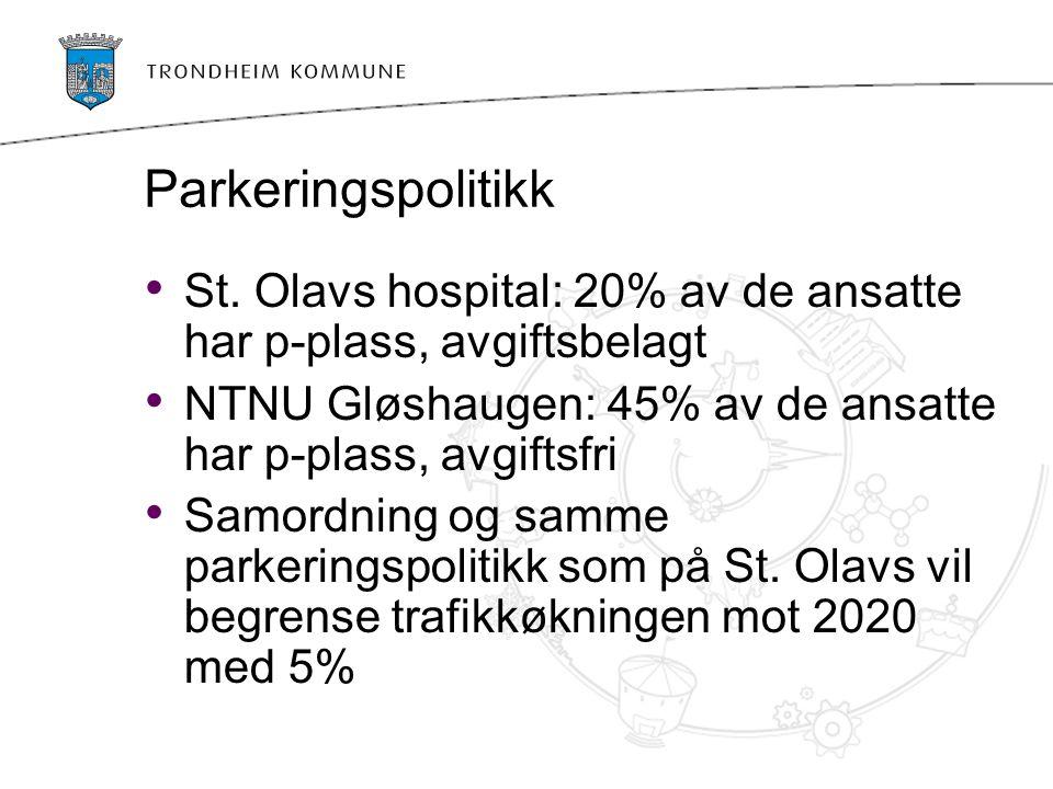 Parkeringspolitikk St. Olavs hospital: 20% av de ansatte har p-plass, avgiftsbelagt NTNU Gløshaugen: 45% av de ansatte har p-plass, avgiftsfri Samordn