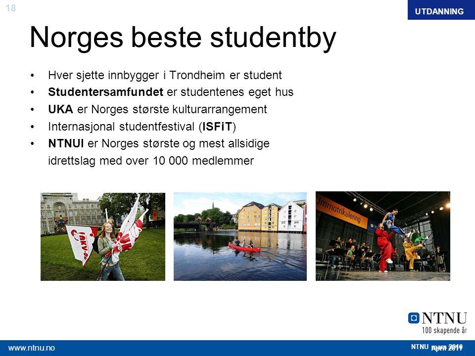 18 April 2011 www.ntnu.no NTNU mars 2010 Norges beste studentby Hver sjette innbygger i Trondheim er student Studentersamfundet er studentenes eget hu