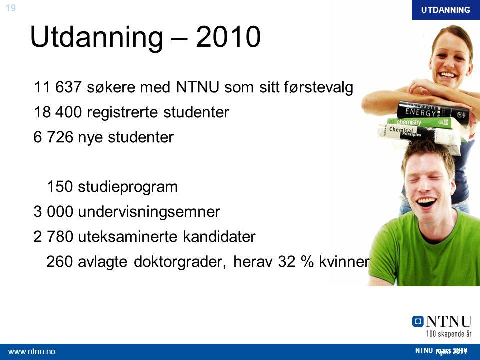 19 April 2011 www.ntnu.no NTNU mars 2010 Utdanning – 2010 11 637 søkere med NTNU som sitt førstevalg 18 400 registrerte studenter 6 726 nye studenter