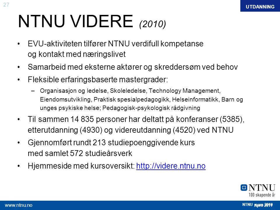 27 April 2011 www.ntnu.no NTNU mars 2010 FAKTAUTDANNING NTNU VIDERE (2010) EVU-aktiviteten tilfører NTNU verdifull kompetanse og kontakt med næringsli