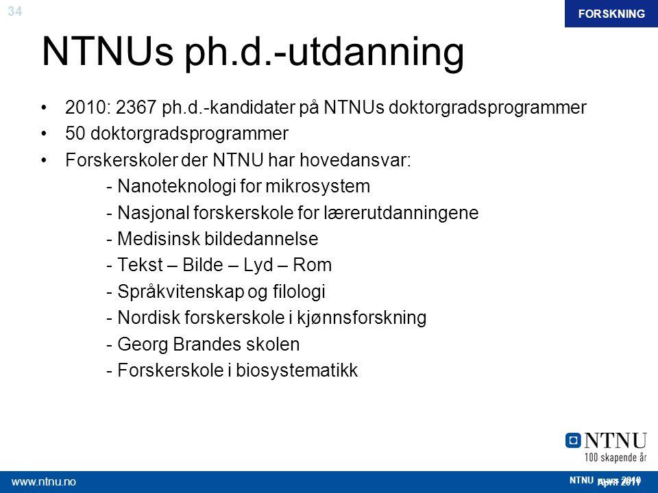 34 April 2011 www.ntnu.no NTNU mars 2010 NTNUs ph.d.-utdanning 2010: 2367 ph.d.-kandidater på NTNUs doktorgradsprogrammer 50 doktorgradsprogrammer For