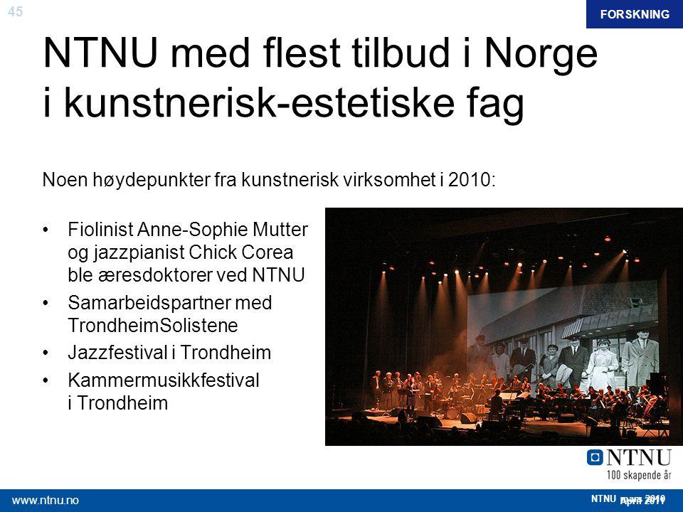 45 April 2011 www.ntnu.no NTNU mars 2010 NTNU med flest tilbud i Norge i kunstnerisk-estetiske fag Noen høydepunkter fra kunstnerisk virksomhet i 2010