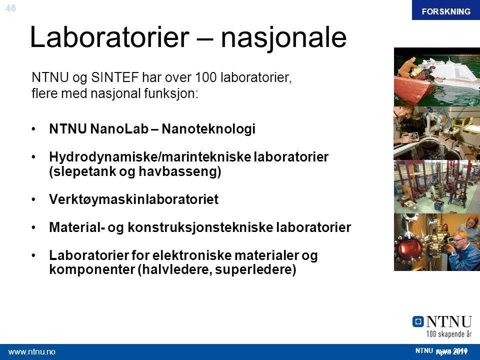 46 April 2011 www.ntnu.no NTNU mars 2010 Laboratorier – nasjonale NTNU NanoLab – Nanoteknologi Hydrodynamiske/marintekniske laboratorier (slepetank og
