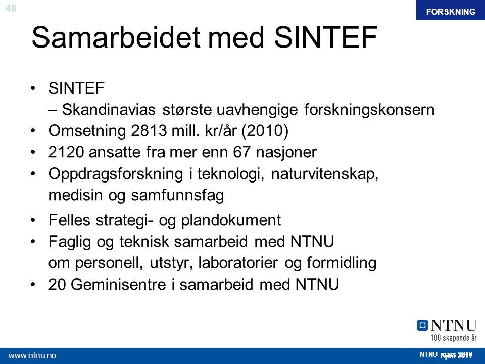 48 April 2011 www.ntnu.no NTNU mars 2010 Samarbeidet med SINTEF FAKTAFORSKNING SINTEF – Skandinavias største uavhengige forskningskonsern Omsetning 28