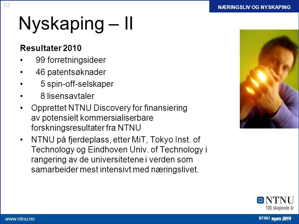 52 April 2011 www.ntnu.no NTNU mars 2010 Nyskaping – II Resultater 2010 99 forretningsideer 46 patentsøknader 5 spin-off-selskaper 8 lisensavtaler Opp