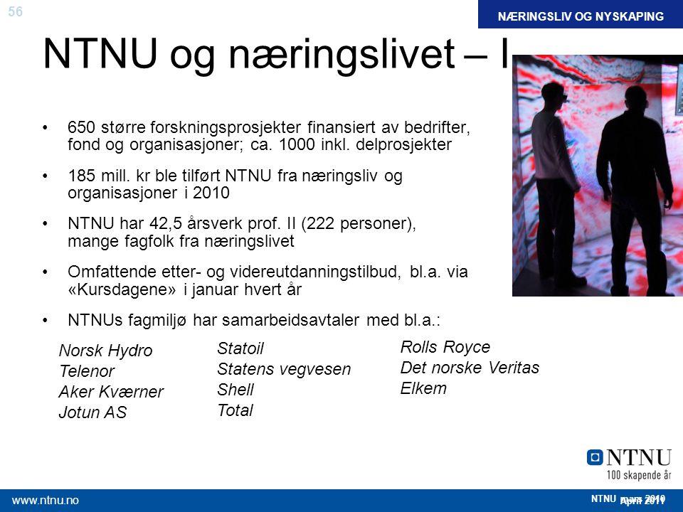 56 April 2011 www.ntnu.no NTNU mars 2010 NTNU og næringslivet – I FAKTANÆRINGSLIV OG NYSKAPING Norsk Hydro Telenor Aker Kværner Jotun AS Statoil State
