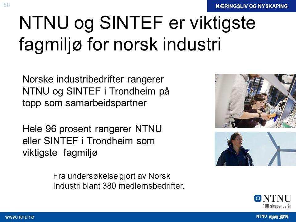 58 April 2011 www.ntnu.no NTNU mars 2010 NTNU og SINTEF er viktigste fagmiljø for norsk industri Norske industribedrifter rangerer NTNU og SINTEF i Tr