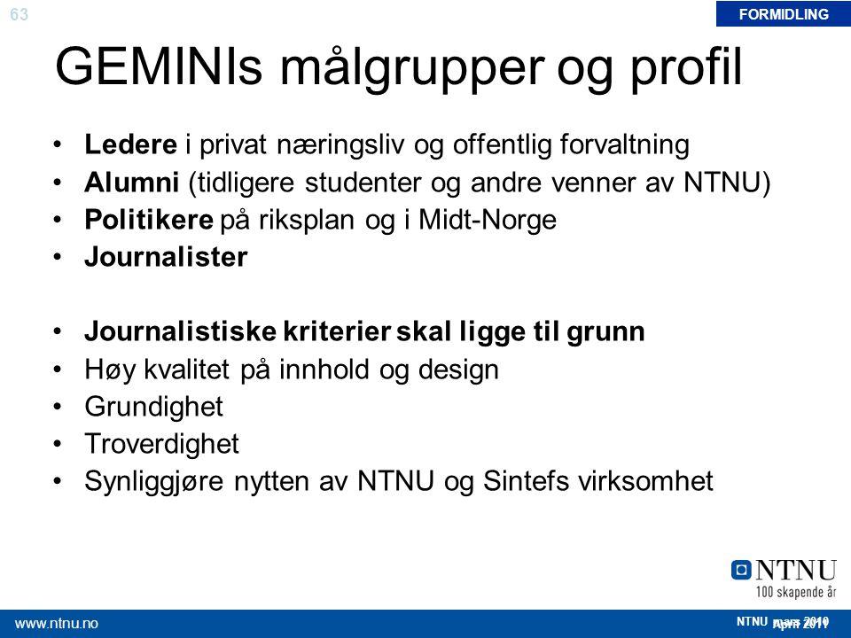 63 April 2011 www.ntnu.no NTNU mars 2010 GEMINIs målgrupper og profil Ledere i privat næringsliv og offentlig forvaltning Alumni (tidligere studenter