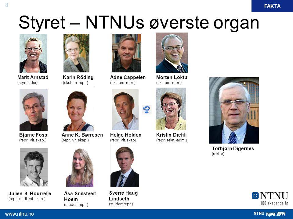 8 April 2011 www.ntnu.no NTNU mars 2010 Styret – NTNUs øverste organ Marit Arnstad (styreleder) Bjarne Foss (repr. vit.skap.) Julien S. Bourrelle (rep