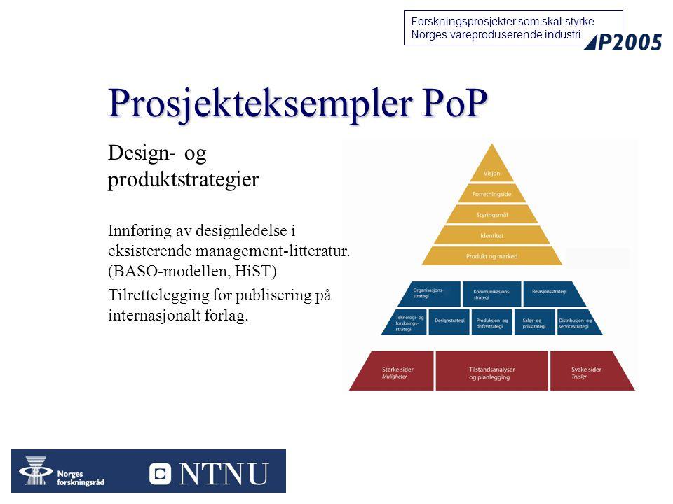 11 Forskningsprosjekter som skal styrke Norges vareproduserende industri Prosjekteksempler PoP Design- og produktstrategier Innføring av designledelse i eksisterende management-litteratur.