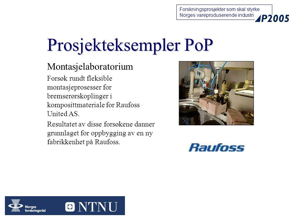 13 Forskningsprosjekter som skal styrke Norges vareproduserende industri Prosjekteksempler PoP Montasjelaboratorium Forsøk rundt fleksible montasjeprosesser for bremserørskoplinger i komposittmateriale for Raufoss United AS.