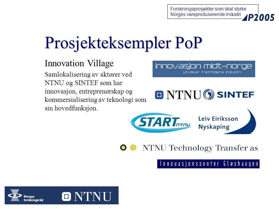 15 Forskningsprosjekter som skal styrke Norges vareproduserende industri Prosjekteksempler PoP Innovation Village Samlokalisering av aktører ved NTNU og SINTEF som har innovasjon, entreprenørskap og kommersialisering av teknologi som sin hovedfunksjon.