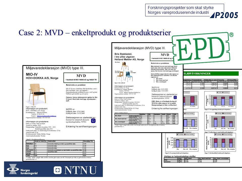 24 Forskningsprosjekter som skal styrke Norges vareproduserende industri Case 2: MVD – enkeltprodukt og produktserier