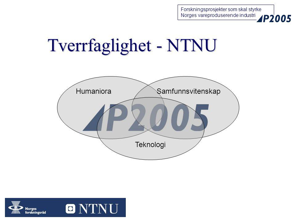 44 Forskningsprosjekter som skal styrke Norges vareproduserende industri Tverrfaglighet - NTNU HumanioraSamfunnsvitenskap Teknologi