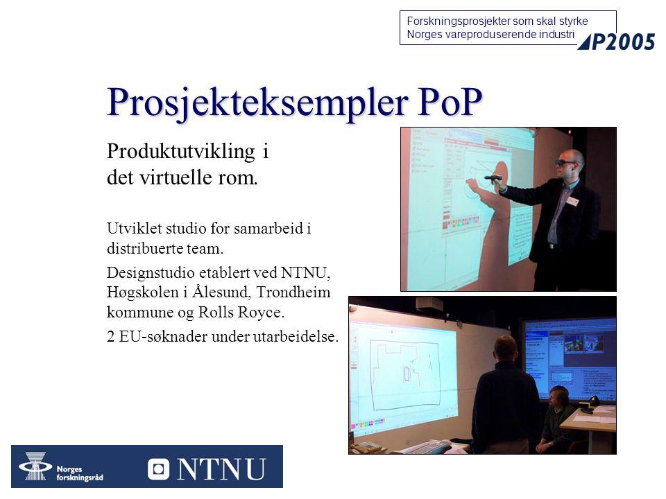 99 Forskningsprosjekter som skal styrke Norges vareproduserende industri Prosjekteksempler PoP Produktutvikling i det virtuelle rom.