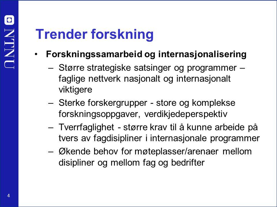 4 Trender forskning Forskningssamarbeid og internasjonalisering –Større strategiske satsinger og programmer – faglige nettverk nasjonalt og internasjo