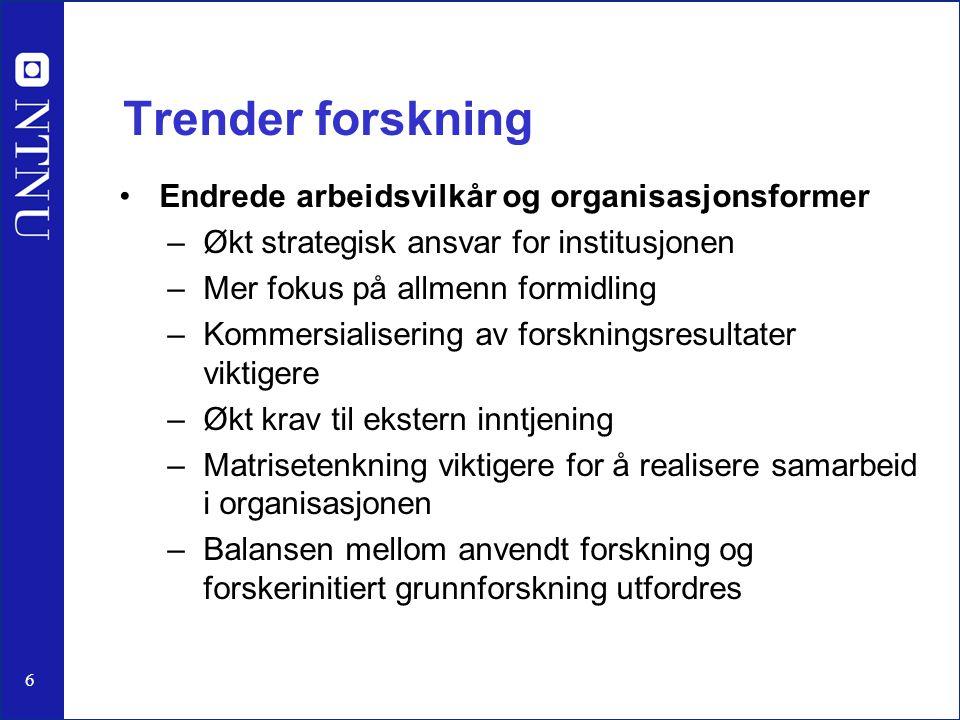 6 Trender forskning Endrede arbeidsvilkår og organisasjonsformer –Økt strategisk ansvar for institusjonen –Mer fokus på allmenn formidling –Kommersial