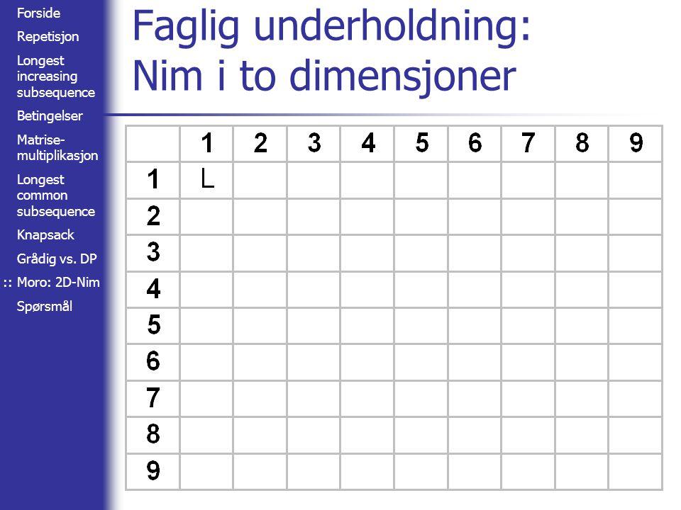 Forside Repetisjon Longest increasing subsequence Betingelser Matrise- multiplikasjon Longest common subsequence Knapsack Grådig vs. DP Moro: 2D-Nim S