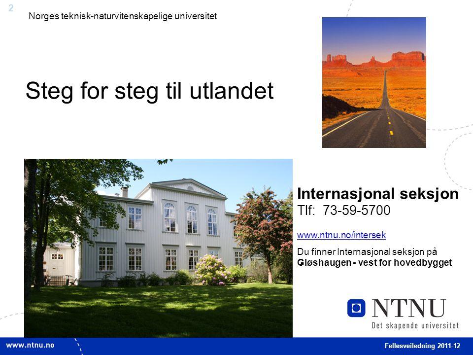 2 Fellesveiledning 2011-12 Norges teknisk-naturvitenskapelige universitet Internasjonal seksjon Tlf: 73-59-5700 www.ntnu.no/intersek www.ntnu.no/inter