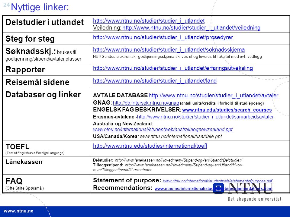 24 Nyttige linker: Delstudier i utlandet http://www.ntnu.no/studier/studier_i_utlandet http://www.ntnu.no/studier/studier_i_utlandet Veiledning: http: